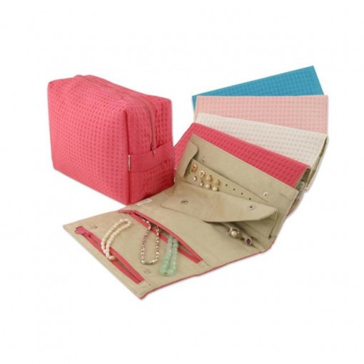Spacific  Waf Weve Cos/trv Bag W/ Jwlry Roll - Fuschia