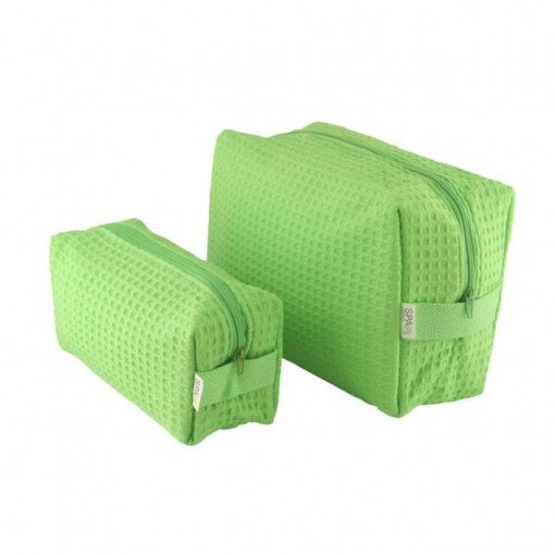 Spacific Waffle Cosm Bag Set -1 Lg/1small - Lime